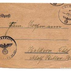 Militaria: TARJETA NAZI CIRCULADA AÑO 1943 QUE SE PLEGABA CON MATASELLOS ESVÁSTICA. Lote 160838550