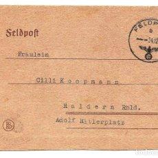 Militaria: TARJETA NAZI CIRCULADA AÑO 1942 QUE SE PLEGABA CON MATASELLOS ESVÁSTICA. Lote 160838694