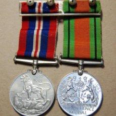 Militaria: RARO PASADOR CON MEDALLAS DE PARTICIPACION Y DEFENSA DE INGLATERRA.2ª GUERRA MUNDIAL.. Lote 163406706