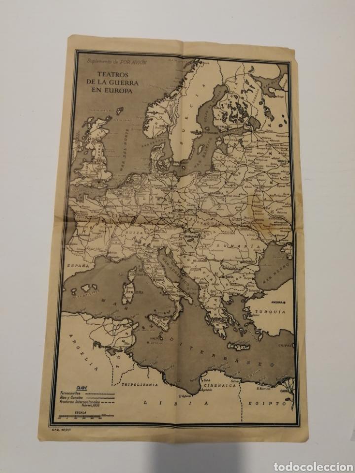 TEATROS DE LA GUERRA EN EUROPA WWII SEGUNDA II GUERRA MUNDIAL, MAPA. SUPLEMENTO DE POR AVIÓN. (Militar - II Guerra Mundial)