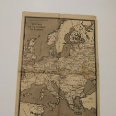 Militaria: TEATROS DE LA GUERRA EN EUROPA WWII SEGUNDA II GUERRA MUNDIAL, MAPA. SUPLEMENTO DE POR AVIÓN.. Lote 176150499