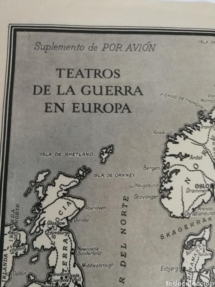 Militaria: Teatros de la guerra en Europa WWII SEGUNDA II GUERRA MUNDIAL, mapa. Suplemento de Por Avión. - Foto 2 - 176150499