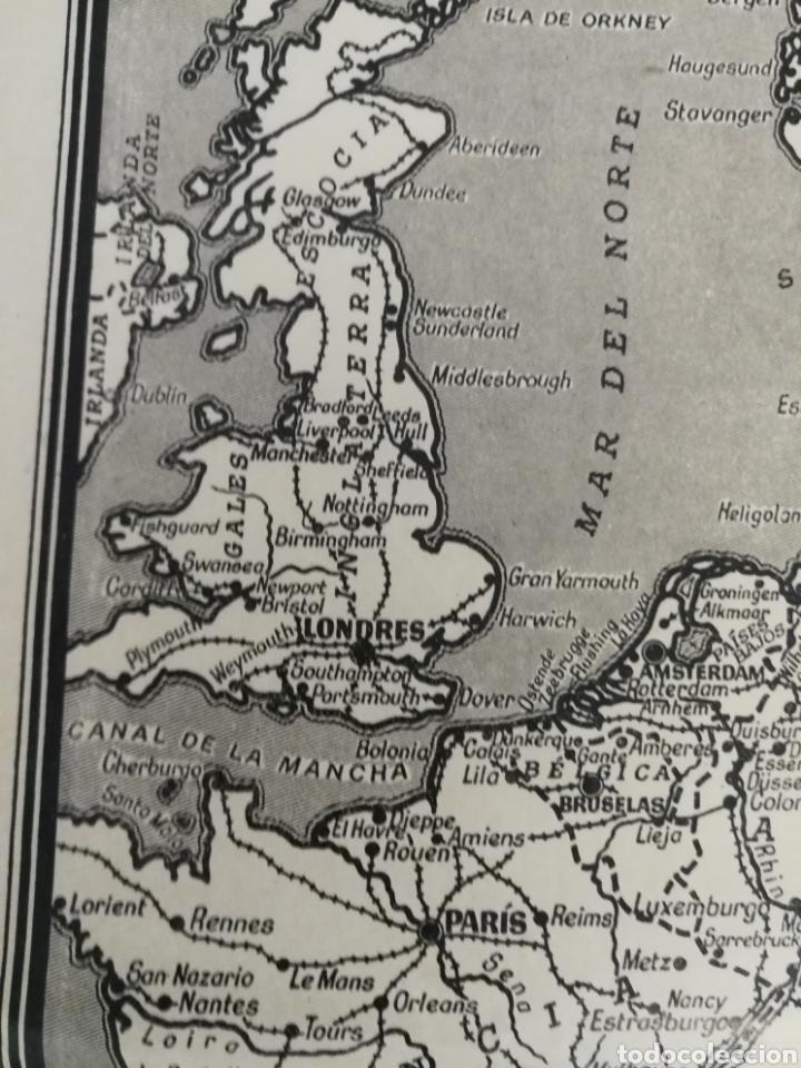 Militaria: Teatros de la guerra en Europa WWII SEGUNDA II GUERRA MUNDIAL, mapa. Suplemento de Por Avión. - Foto 3 - 176150499
