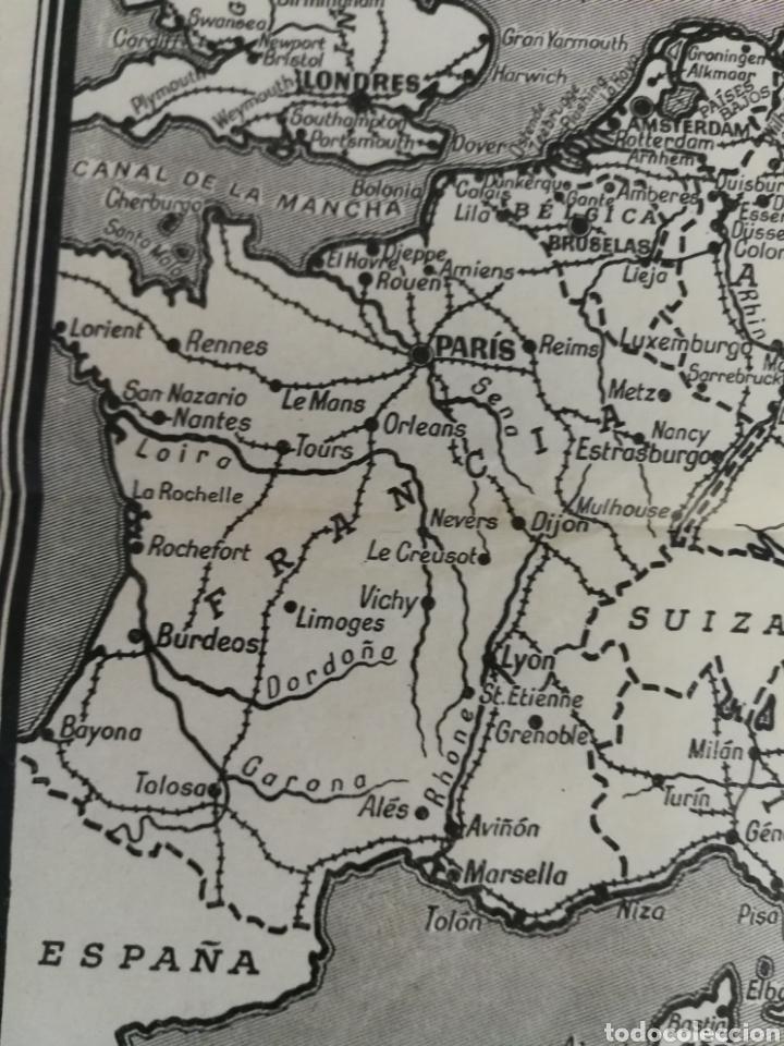 Militaria: Teatros de la guerra en Europa WWII SEGUNDA II GUERRA MUNDIAL, mapa. Suplemento de Por Avión. - Foto 4 - 176150499
