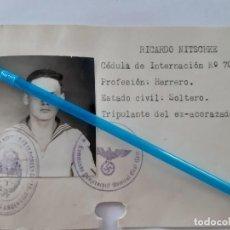 Militaria: WW2. ARGENTINA. ALEMANIA. FICHA POLICIAL DE PRISIONERO DE MARINERO DEL ACORAZADO GRAF SPEE. Lote 167015684