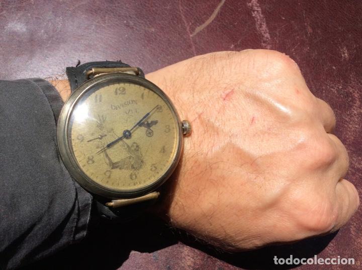 RELOJ MILITAR CARGA MANUAL EN MARCHA , REVISADO , ESFERA DE BRONCE DIVISIÓN AZUL - MUY RARO . (Militar - II Guerra Mundial)