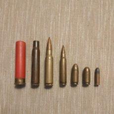 Militaria: LOTE DE SIETE BALAS INERTES.DE DISTINTOS CALIBRES. Lote 180077633