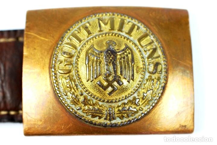 Militaria: Hebilla de la Kriegsmarine para Tropa y Suboficiales con Lengüeta de Cuero Marcada y sellada 1940 - Foto 2 - 182767516