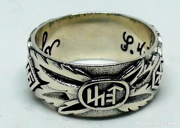 Militaria: ANILLO DE HONOR SS .Totenkopf( plata 925) talla-12 - Foto 9 - 207910895