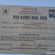 Militaria: WW2. ESTADOS UNIDOS. CARTILLA DE RACIONAMIENTO. NUMERO 4. Lote 188804525