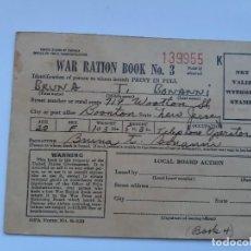 Militaria: WW2. ESTADOS UNIDOS. CARTILLA DE RACIONAMIENTO. NUMERO 3. Lote 188804686