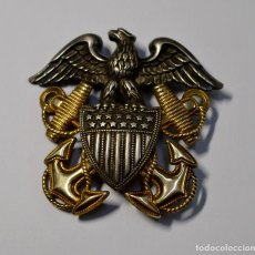 Militaria: ESPECTACULAR INSIGNIA DE PLATA Y ORO DE GORRA DE OFICIAL LA MARINA DE GUERRA U.S.A.2ª GUERRA MUNDIAL. Lote 189408995