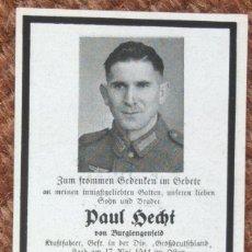 Militaria: ESQUELA SOLDADO ALEMAN FALLECIDO EN LA SEGUNDA GUERRA MUNDIAL 1944. Lote 189925445
