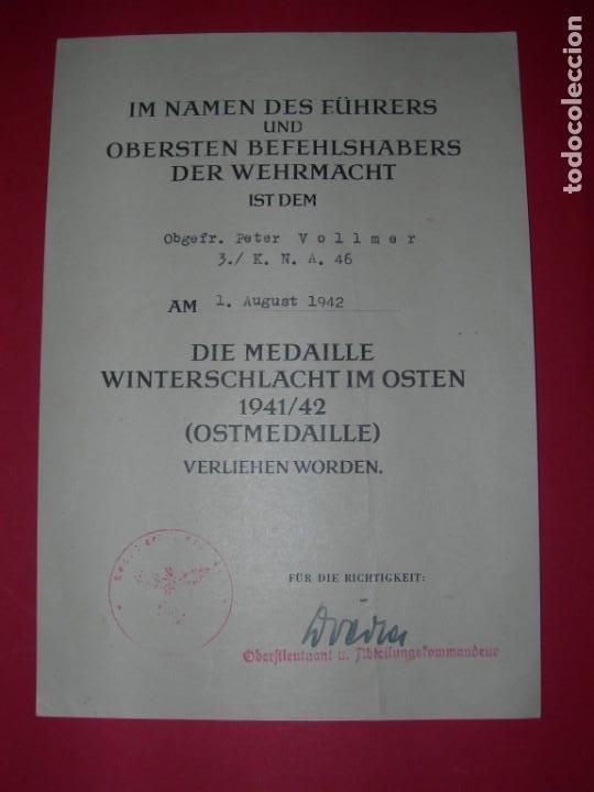 DOCUMENTO CONCESIÓN MEDALLA PRIMER INVIERNO EN RUSIA (Militar - II Guerra Mundial)
