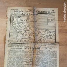 Militaria: HOJA ORIGINAL. 18 JUNIO 1944. NORMANDÍA. HERLADO DE ARAGON. Lote 194557977