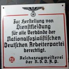 Militaria: PLACA ESMALTADA DE EDIFICO DEL RZM NAZI.. Lote 196202060
