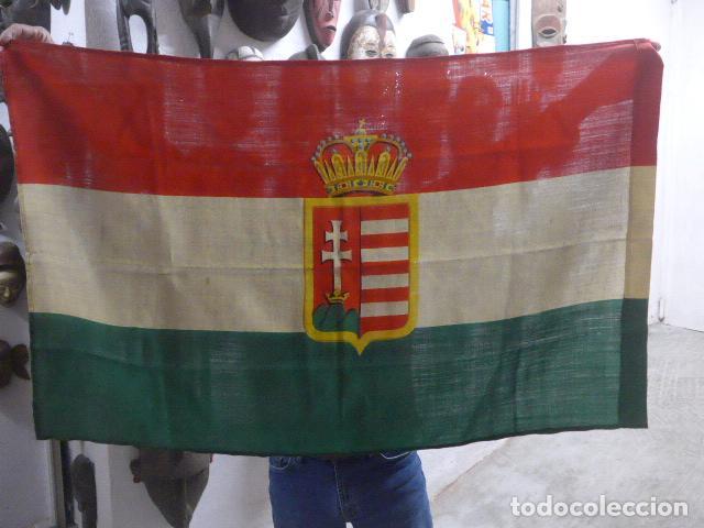 Militaria: Antigua bandera de Hungria original de la II guerra mundial, fabricacion de Barcelona, castells. - Foto 9 - 197113647