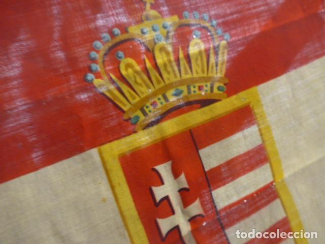 Militaria: Antigua bandera de Hungria original de la II guerra mundial, fabricacion de Barcelona, castells. - Foto 11 - 197113647