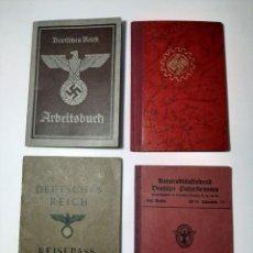 Militaria: LOTE DE 4 DOCUMENTOS ORIGINALES DEL III REICH.. Lote 197895293