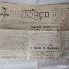 Militaria: DIVISIÓN AZUL,DIARIO MENORCA 27 FEBRERO DE 1942. Lote 199110241