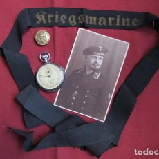Militaria: LOTE CINTA DE GORRA, BOTÓN GUERRERA, FOTO Y CRONÓMETRO MILITAR ALEMÁN KRIEGSMARINE II GUERRA MUNDIAL. Lote 205304535