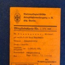 Militaria: CARTILLA DE VETERANOS ALEMANA NSKOV. Lote 205566381
