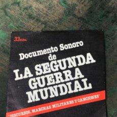 Militaria: DISCO DOCUMENTO SONORO DE LA SEGUNDA GUERRA MUNDIAL. DISCURSOS, MARCHAS MILITARES Y CANCIONES. Lote 197259026