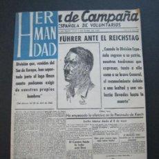Militaria: HOJA DE CAMPAÑA DIVISION AZUL-HERMANDAD-HITLER-FÜHRER-VER FOTOS-(V-20.304). Lote 206373440