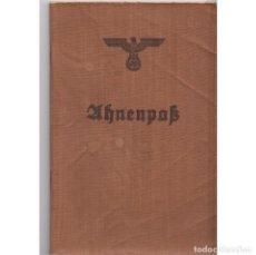 Militaria: AHNENPASS (LIBRO DE ANTEPASADOS). NECESARIO PARA DEMOSTRAR PUREZA RACIAL. NAZI. III REICH.. Lote 207256395