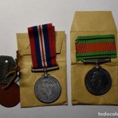Militaria: IDENTIFICACION Y MEDALLAS SOLDADO DE REINO UNIDO EN CAJITA DEL GOBIERNO ORIGINAL.2ª GUERRA MUNDIAL. Lote 210520633