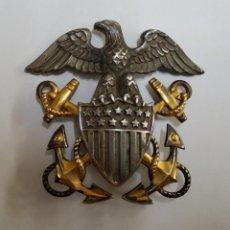 Militaria: INSIGNIA PLATA Y ORO.GORRA DE PLATO DE OFICIAL DE MARINA GUERRA ESTADOS UNIDOS.2ª GUERRA MUNDIAL.. Lote 212551145