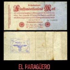 Militaria: ALEMANIA BILLETE CLASICO 500 MIL MARKOS DE 1923 CON SELLO VIOLETA ESVASTICA DE LA ALEMANIA NAZI. Lote 214619497