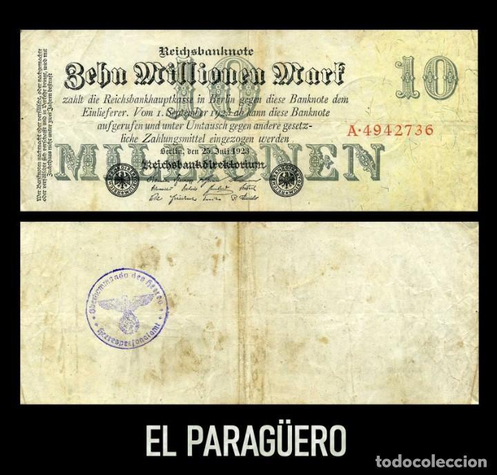 ALEMANIA BILLETE CLASICO 10 MILLONES MARKOS DE 1923 CON SELLO VIOLETA ESVASTICA DE LA ALEMANIA NAZI (Militar - II Guerra Mundial)