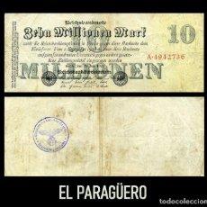 Militaria: ALEMANIA BILLETE CLASICO 10 MILLONES MARKOS DE 1923 CON SELLO VIOLETA ESVASTICA DE LA ALEMANIA NAZI. Lote 214629303