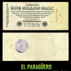 Militaria: ALEMANIA BILLETE CLASICO 1 MILLON DE MARKOS DE 1923 CON SELLO VIOLETA ESVASTICA DE LA ALEMANIA NAZI. Lote 215038088
