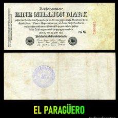 Militaria: ALEMANIA BILLETE CLASICO 1 MILLON DE MARKOS DE 1923 CON SELLO VIOLETA ESVASTICA DE LA ALEMANIA NAZI. Lote 215042303