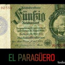Militaria: ALEMANIA BILLETE CLASICO 50 MARKOS DE 1933 CON SELLO VIOLETA ESVASTICA DE LA ALEMANIA NAZI. Lote 215075333