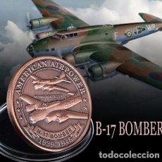 Militaria: MONEDA CONMEMORATIVA B17 BOMBARDERO FUERZA AEREA ESTADOS UNIDOS - 2 GUERRA MUNDIAL. Lote 215923570