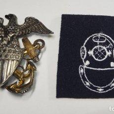 Militaria: INSIGNIA DE PLATA Y ORO DE OFICIAL DE LA MARINA DE GUERRA DE ESTADOS UNIDOS SEGUNDA GUERRA MUNDIAL. Lote 220362860