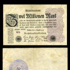 Militaria: ALEMANIA BILLETE CLASICO 2 MILLONES D MARKOS DE 1923 CON SELLO VIOLETA ESVASTICA DE LA ALEMANIA NAZI. Lote 221493120