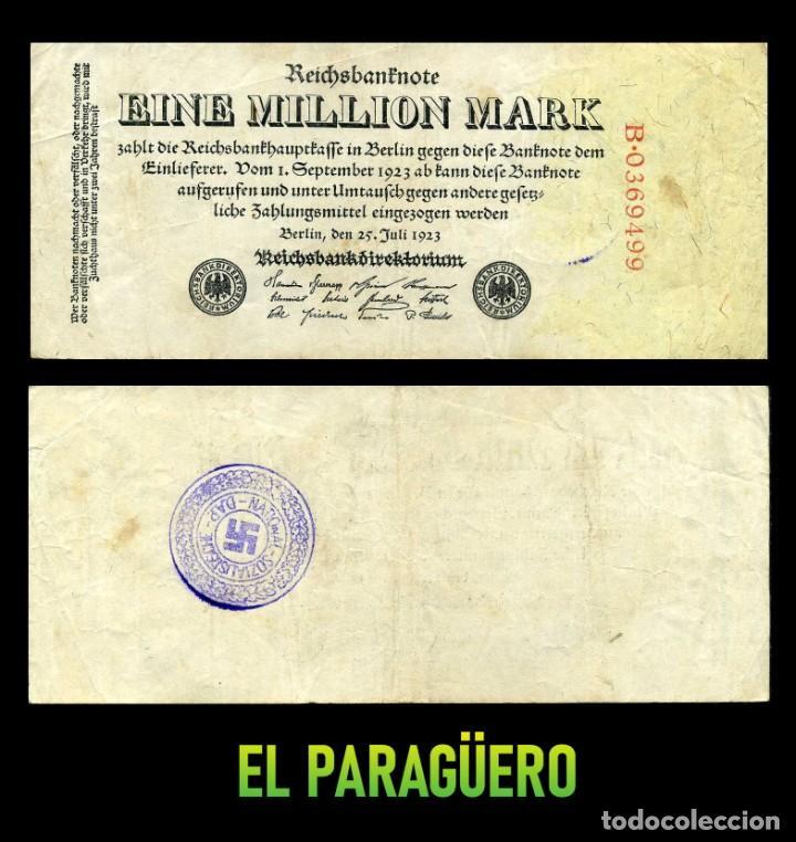 ALEMANIA BILLETE CLASICO 1 MILLON DE MARKOS DE 1923 CON SELLO VIOLETA ESVASTICA DE LA ALEMANIA NAZI (Militar - II Guerra Mundial)
