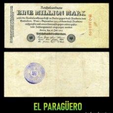 Militaria: ALEMANIA BILLETE CLASICO 1 MILLON DE MARKOS DE 1923 CON SELLO VIOLETA ESVASTICA DE LA ALEMANIA NAZI. Lote 221493152