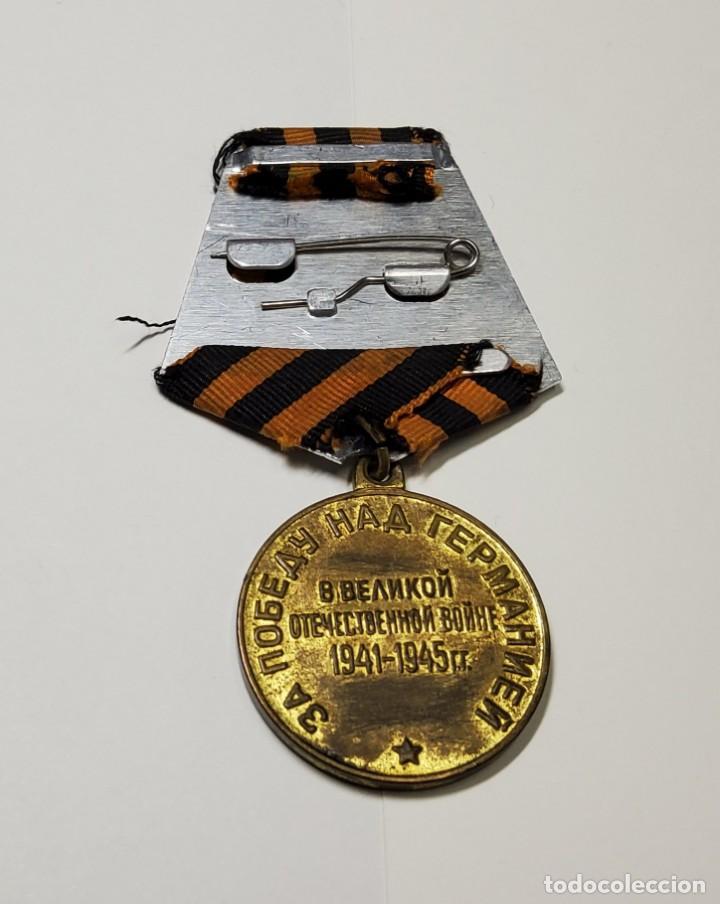 Militaria: MEDALLA Y DOCUMENTO DE RUSIA DE LA VICTORIA SOBRE ALEMANIA.SEGUNDA GUERRA MUNDIAL - Foto 5 - 222558060