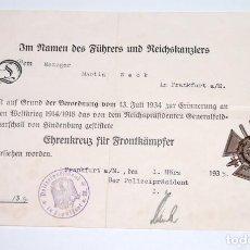 Militaria: ALEMANIA - CRUZ DE HONOR 1914 CON CERTIFICADO DE CONCESIÓN. Lote 222898563