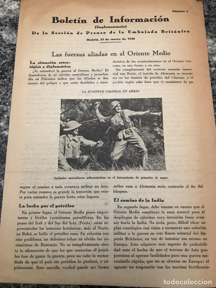 BOLETÍN DE INFORMACIÓN DE LA SECCIÓN DE PRENSA DE LA EMBAJADA BRITÁNICA MARZO 1949 (Militar - II Guerra Mundial)