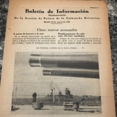 Militaria: BOLETÍN DE INFORMACIÓN DE LA SECCIÓN DE PRENSA DE LA EMBAJADA BRITÁNICA MARZO 1949. Lote 223417930