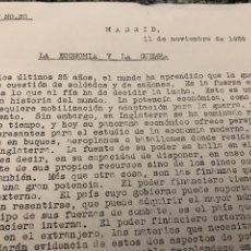 Militaria: BOLETÍN DE GUERRA 1939 LA ECONOMÍA Y LA GUERRA-LAS FUERZAS MILITARES INGLESES. Lote 223419457