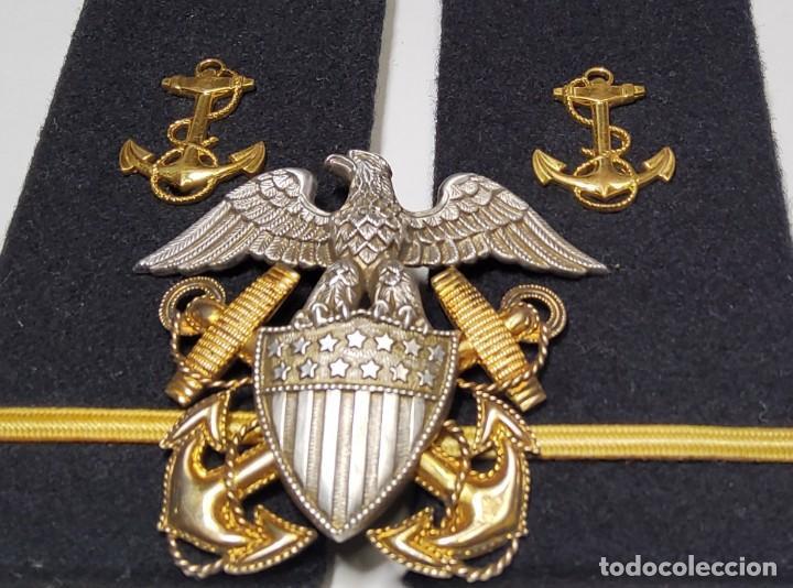 Militaria: INSIGNIA PLATA Y ORO Y HOMBRERAS OFICIAL DE MARINA DE GUERRA ESTADOS UNIDOS.2ª GUERFRA MUNDIAL. - Foto 3 - 223584741