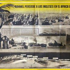 Militaria: CARTEL. II GUERRA MUNDIAL. ROMMEL PERSIGUE A LOS INGLESES EN AMERICA DEL NORTE.. Lote 224993697