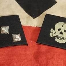 Militaria: NAZI SS TOTENKOPF DEATHHEAD COLLAR TABS PATCHES WW2 WWII THIRD REICH. Lote 227446055